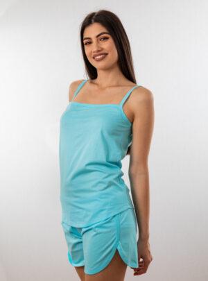 Ženski bebi dol IV tirkiz, Bebi dol pidžama za žene od pamuka