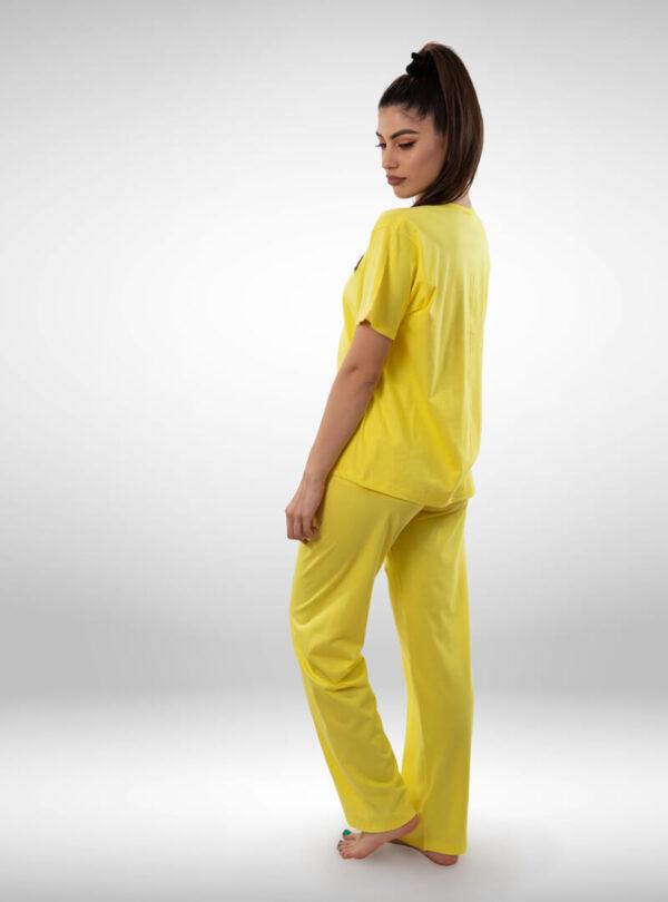 Ženska pidžama kratak rukav žuta, ženske pidžame