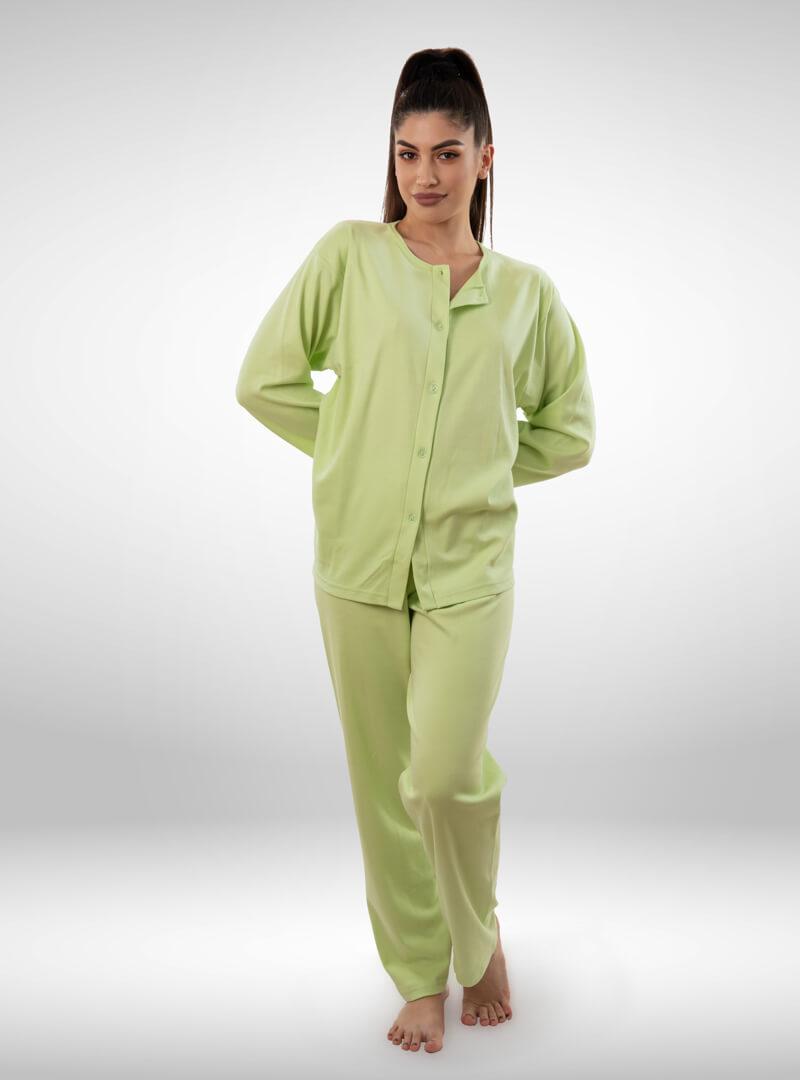 Ženska pidžama na kopčanje zelena, ženske pidžame