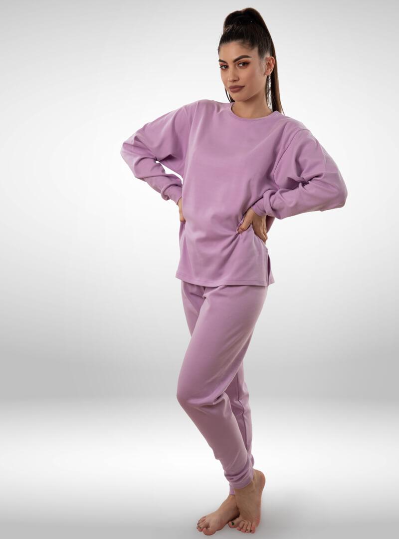Ženska pamučna pidžama ljubičasta, ženske pidžame