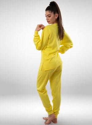 Ženska pamučna pidžama žuta, ženske pidžame