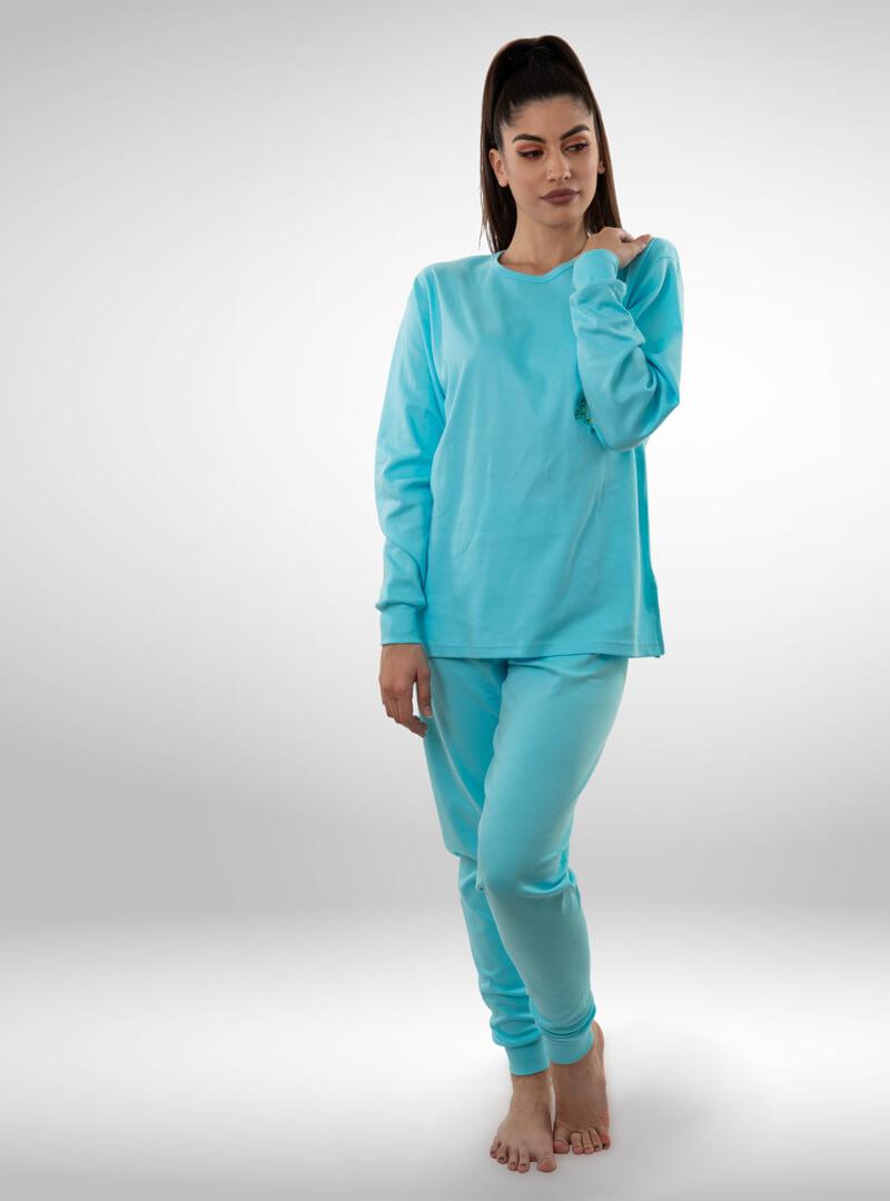 Ženska pamučna pidžama tirkiz, ženske pidžame
