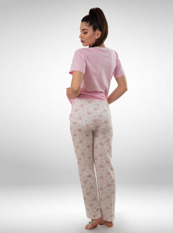 Ženska pidžama sa kratkim rukavima i dugim nogavicama roza, ženske pidžame
