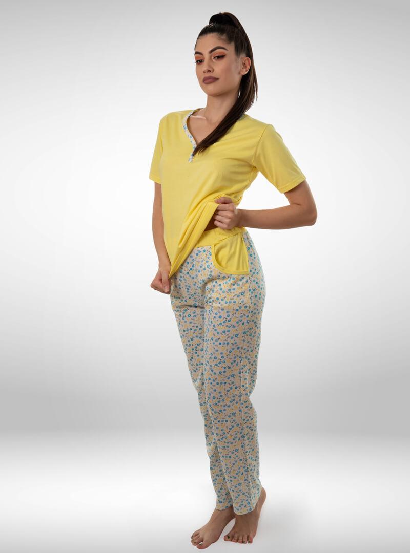 Ženska pidžama sa kratkim rukavima i dugim nogavicama žuta, ženske pidžame