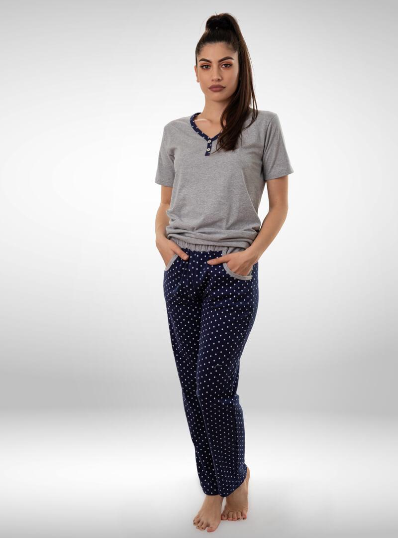 Ženska pidžama sa kratkim rukavima i dugim nogavicama tamno plava, ženske pidžame
