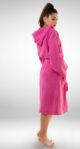 Ženski ogrtač sa kapuljačom rozi, ženski bade mantili