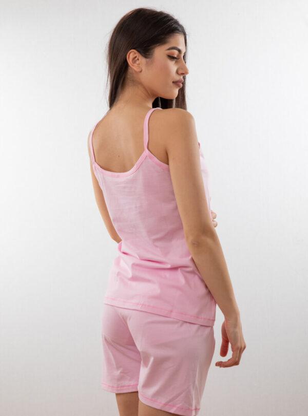 Ženski bebi dol uska bretela roza, Bebi dol pidžama za žene od pamuka