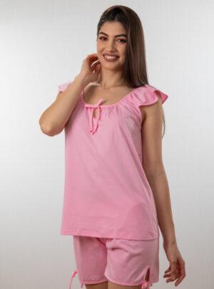 Ženski bebi dol V roza, Bebi dol pidžama za žene od pamuka