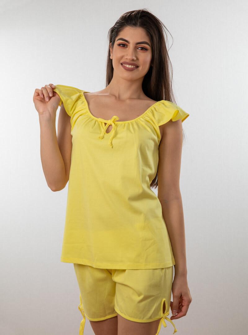 Ženski bebi dol V žuta, Bebi dol pidžama za žene od pamuka