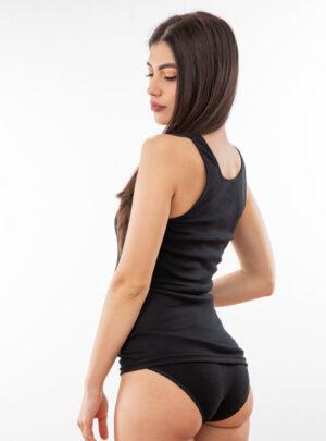 Ženska potkošulja široka bretela sa čipkom crna