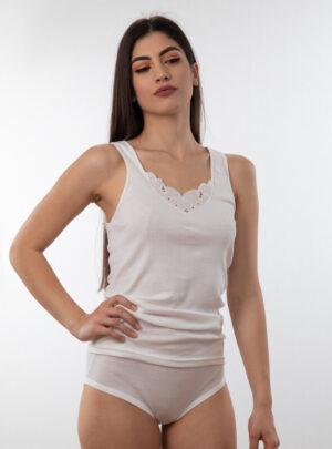 Ženska potkošulja široka bretela sa čipkom bijela