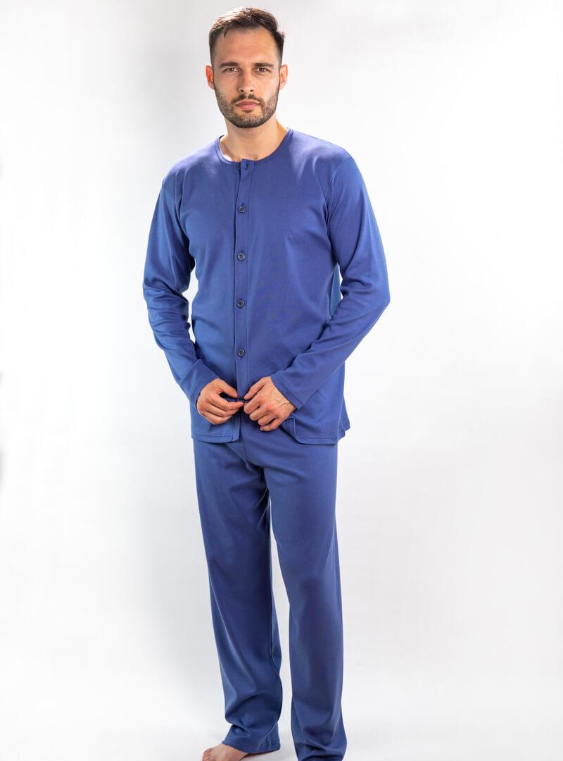 Muška pidžama na kopčanje tamno plava, Muske pidzame online prodaja