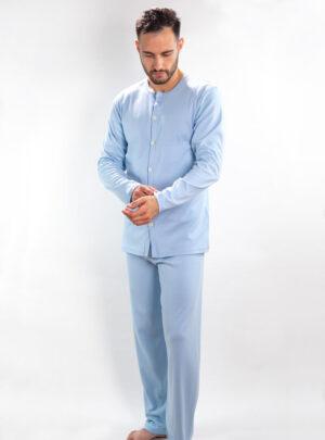 Muška pamučna pidžama na kopčanje svijetlo plava, Muske pidzame online prodaja