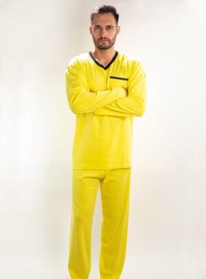 Muška pamučna pidžama žuta, muške pidžame