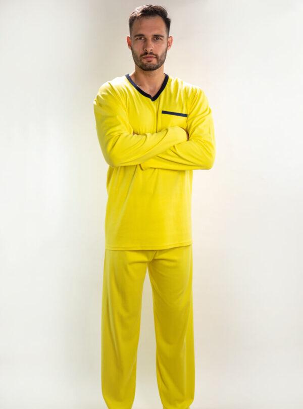 Muška pamučna pidžama žuta, muške pidžame, Muske pidzame online prodaja