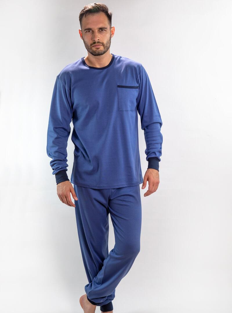 Muška pamučna pidžama srednje plava, Muske pidzame online prodaja