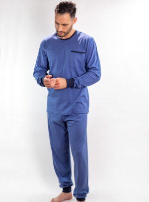 Muške pamučne pidžame srednje plava, muške pamučne pidžame