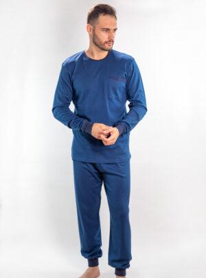Muška pamučna pidžama tamno plava, muške pamučne pidžame