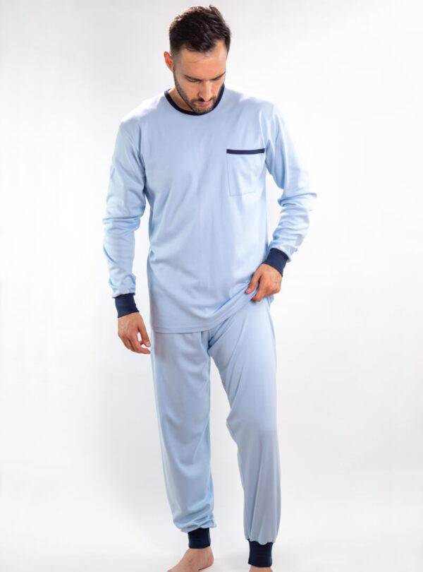 Muška pamučna pidžama svijetlo plava, muške pidžame pamučne