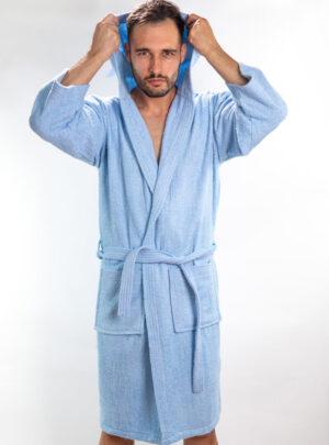 Muški ogrtač svijetlo plavi, muški bade mantili