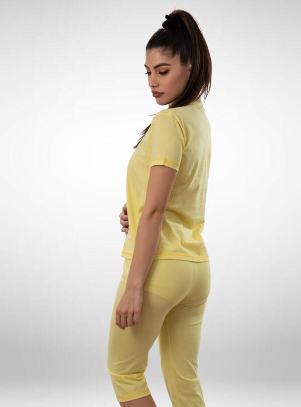 Ženska pidžama 3/4 nogavica žuta, ženske pidžame