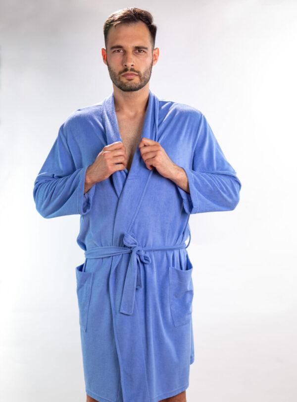 Muški ogrtač srednje plava, muški bade mantili