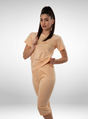Ženska pidžama 3/4 nogavica narandžasta, ženske pidžame