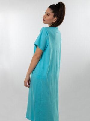 Ženska spavaćica kratkih rukava tirkiz, ženske spavaćice