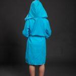 Bade mantil za djevojčice sa kapuljačom svijetlo plavi, dječiji ogrtači, bade mantili