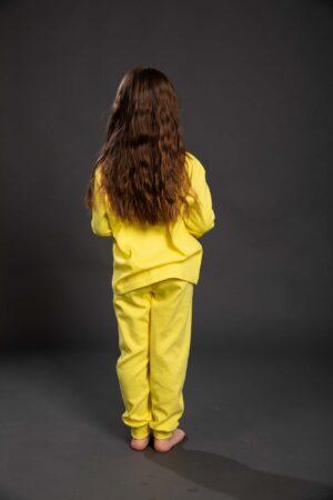 Pamučna pidžama za djevojčice žuta, Pidžame za djevojčice