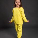 Pamučna pidžama za djevojčice žuta,Pidžame za djevojčice