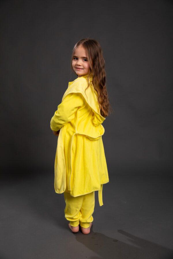 Bade mantil za djevojčice sa kapuljačom žuti, dječiji ogrtači