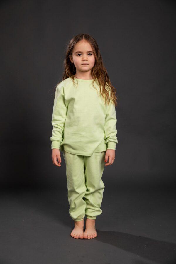 Pamučna pidžama za djevojčice zelena, Pidžame za djevojčice