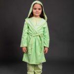 Bade mantil za djevojčice sa kapuljačom zeleni, dječiji ogrtači
