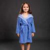 Bade mantil za djevojčice sa kapuljačom tamno plavi, dječiji ogrtači, bade mantili