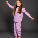 Pamučna pidžama za djevojčice ljubičasta, Pidžame za djevojčice