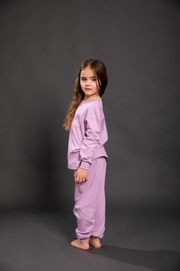 Pamučna pidžama za djevojčice ljubičasta,Pidžame za djevojčice