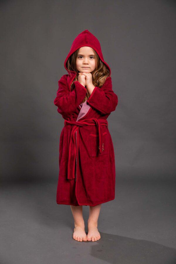 Bade mantil za djevojčice sa kapuljačom crveni, dječiji ogrtači
