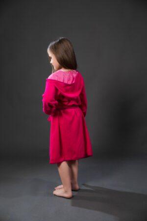 Bade mantil za djevojčice sa kapuljačom rozi, dječiji ogrtači, bade mantili