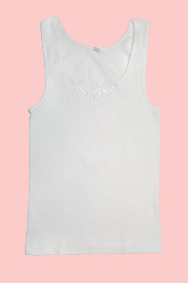 Potkošulja za djevojčice široka bretela bijela
