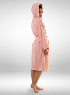 Ženski ogrtač sa kapuljačom svijetlo rozi, ženski bade mantili