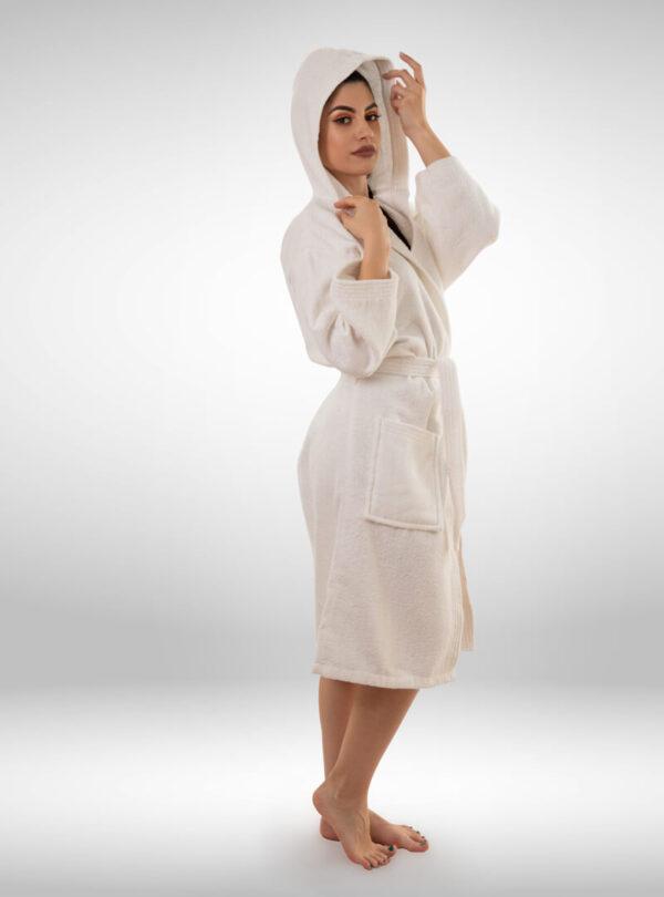 Ženski ogrtač sa kapuljačom bijeli, ženski bade mantili