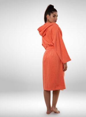 Ženski ogrtač sa kapuljačom narandžasti, ženski bade mantili