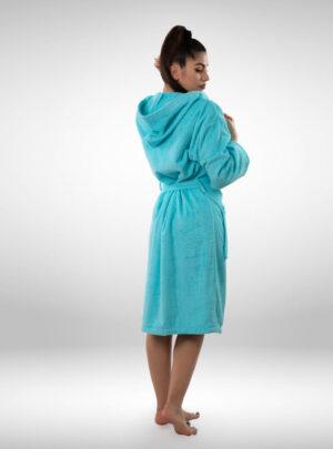 Ženski ogrtač sa kapuljačom tirkiz, ženski bade mantili