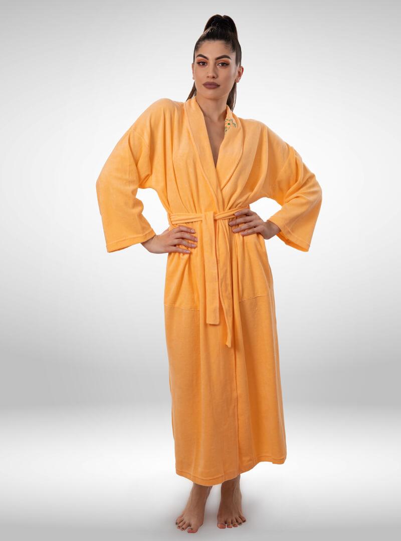 Ženski ogrtač narandžasti, ženski bade mantili